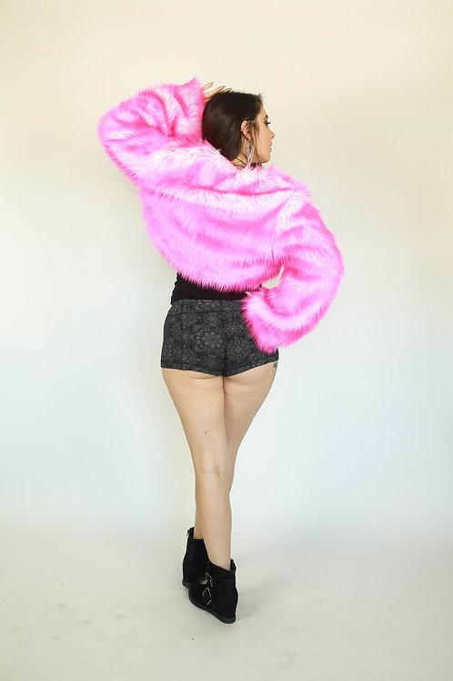 Reversible Faux Fur Bolero in Your Choice: HOT PINK/RAINBOW/B&W/PURE BLACK