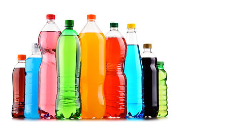 Plastic bottles of assorted carbonated s