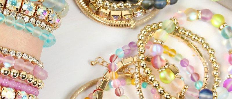 Hdb2433 - Mermaid Glass Stretch Bracelet