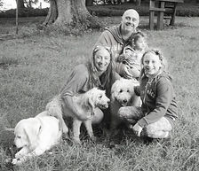 Family phooto with Steve, Sam, Emma, Abi and the dogs