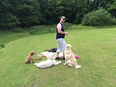 Steve playing with Lacey, Colin and Areya