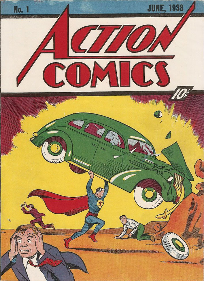 Capa da primeira aparição do Superman, o herói levantando um carro.