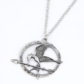 Silver mockingjay necklace nh214818 8bydesignjewelry silver mockingjay necklace nh214818 mozeypictures Image collections