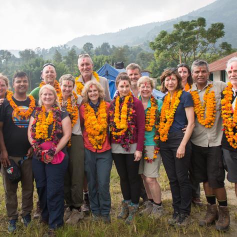 REACH for Nepal Community Rebuild Trip members at a School