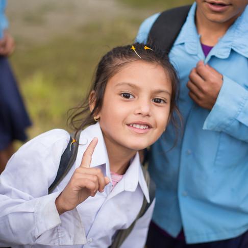Happy students at Shahid Hari Prasad School with REACH for Nepal Foundation