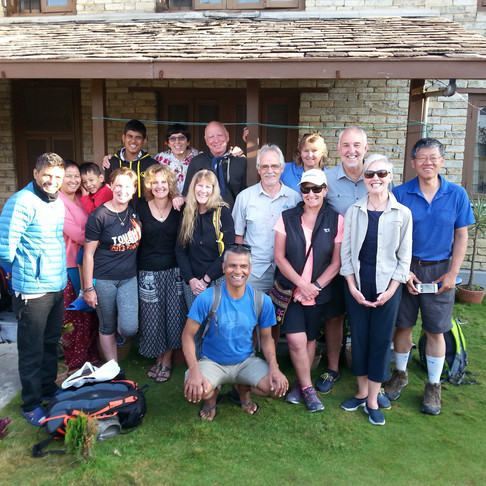 REACH for Nepal Community Rebuild Trip members at the Pipal Tree Bed & Breakfast, Pokhara