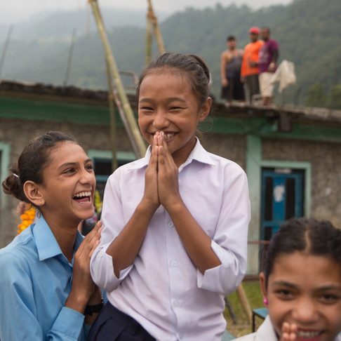 Shahid Hari Prasad School students happy and cheerful for the help REACH for Nepal is bringing to the village