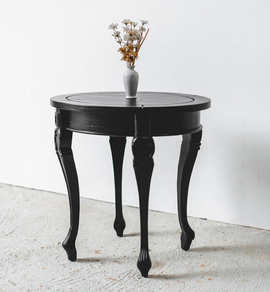 Sungkai in Black Round Side Table