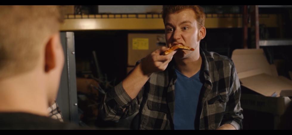 Spenser stealing pizza