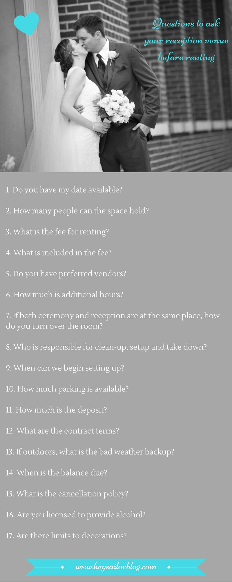 questions to ask reception venue before renting