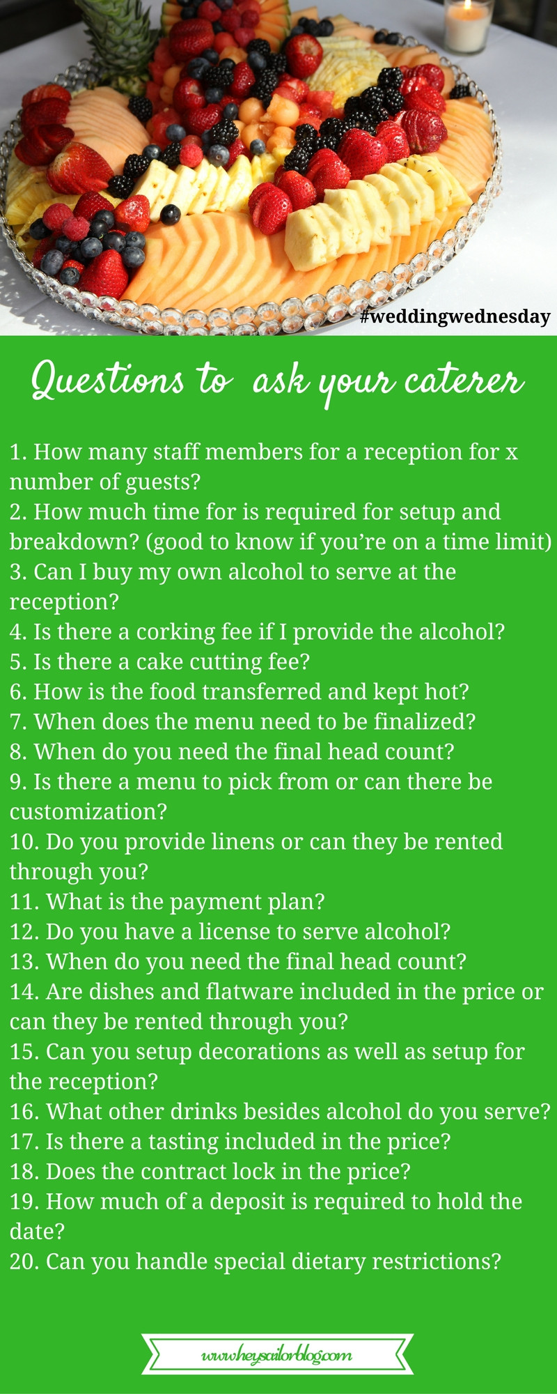questions to ask your caterer list