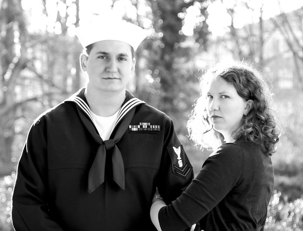 dress blues engagement photo
