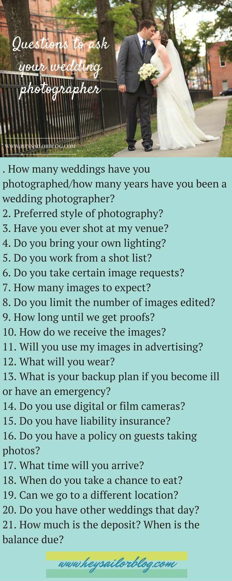 questions to ask your wedding photographer list