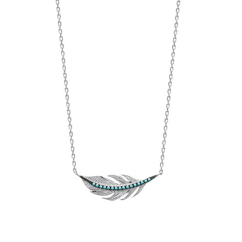 Collier plume  turquoise