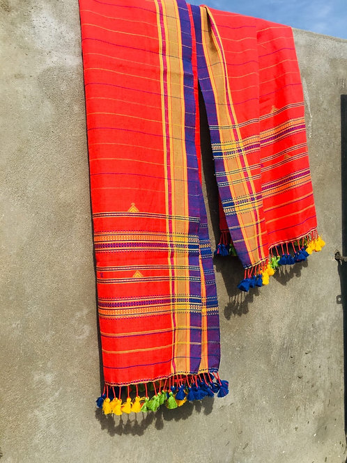 Handloom cotton stole from Bhuj