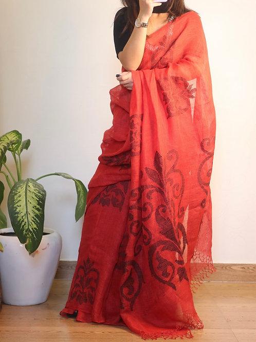 Handwoven pure Linen saree jamdani motifs