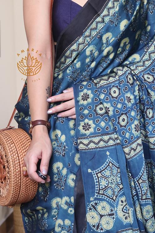 AJRAKH on modal silk from Gujarat