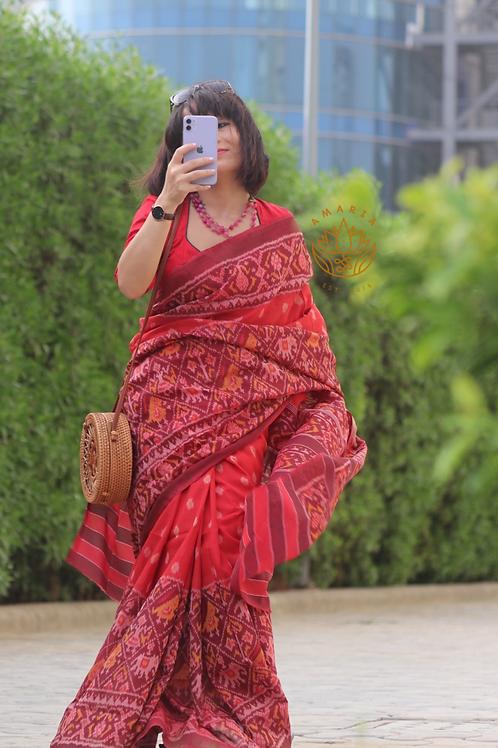 Handwoven single ikkat patola saree- cotton