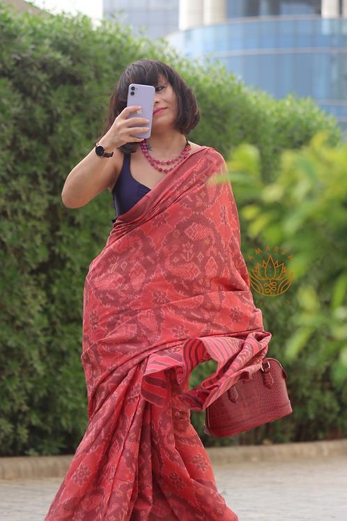 Handwoven single ikkat cotton patola saree