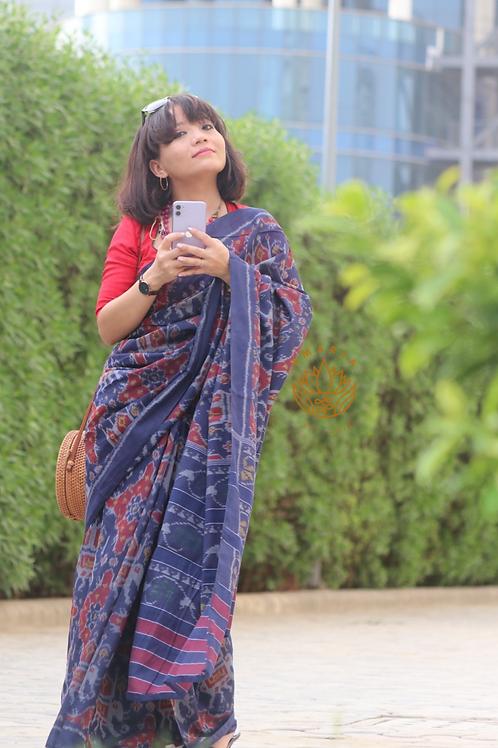 Handwoven single ikkat patola saree cotton