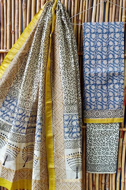 Chanderi suit with maheshwari dupatta