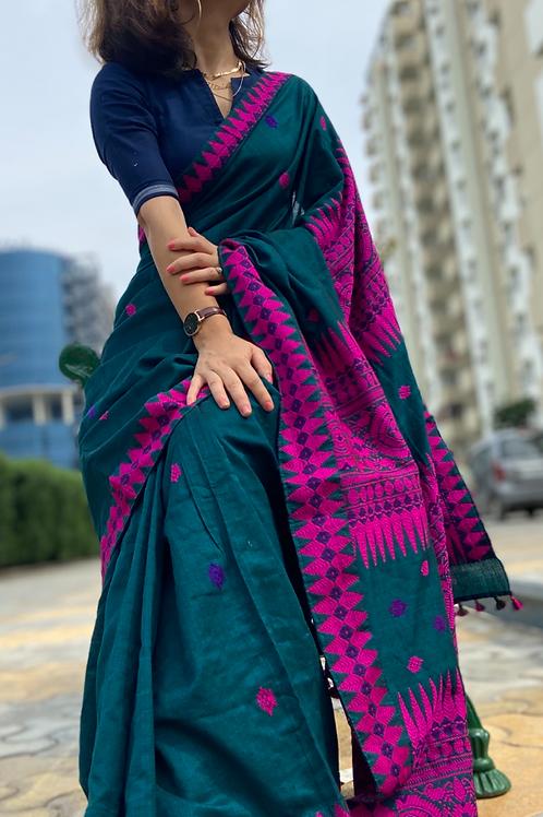 Assam handloom cotton saree with blouse piece