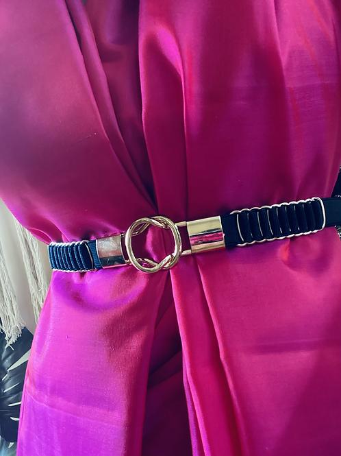 Elastic waist belt with loop buckle