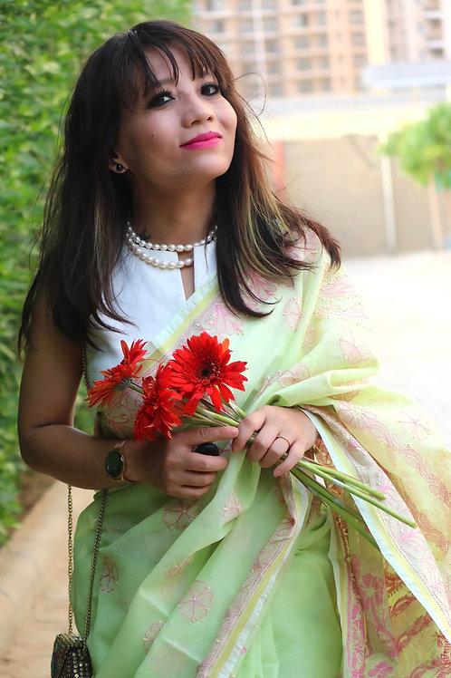 Multi color thread Chikankarri on chanderi cotton saree with zari border