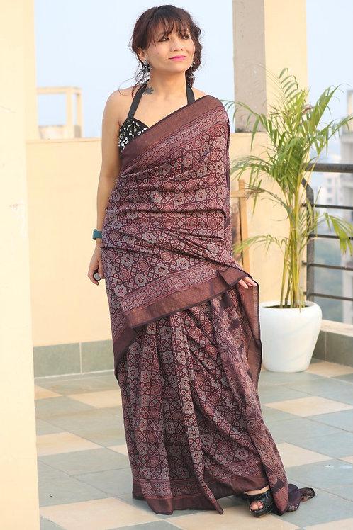 AJRAKH on tussar silk from Gujarat