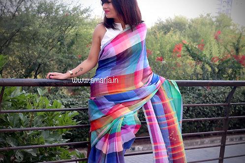 Exclusive Handloom Bhujodi saree multicolor rainbow hues