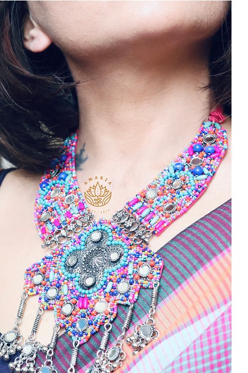 Handcrafted statement neckpiece beads and felt