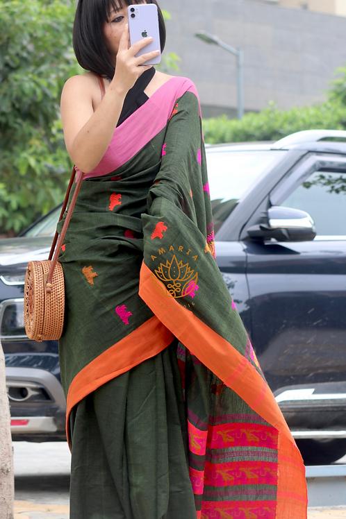 Handloom pure cotton Kaziranga saree