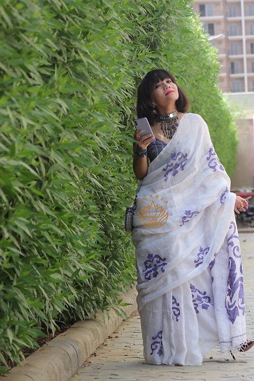 Pure linen handwoven saree with indigo thread woven motifs