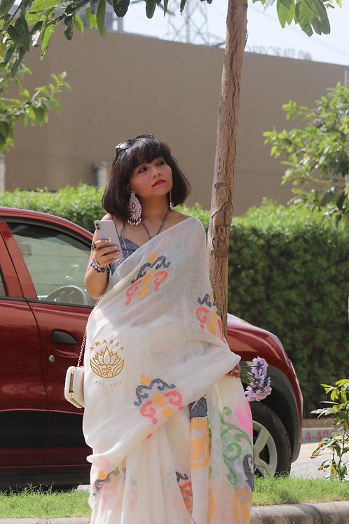 Pure linen handloom saree with multicolor woven THREAD MOTIFS