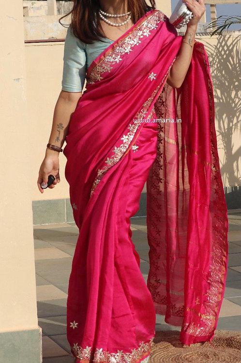 Chanderi gota patti handwork saree