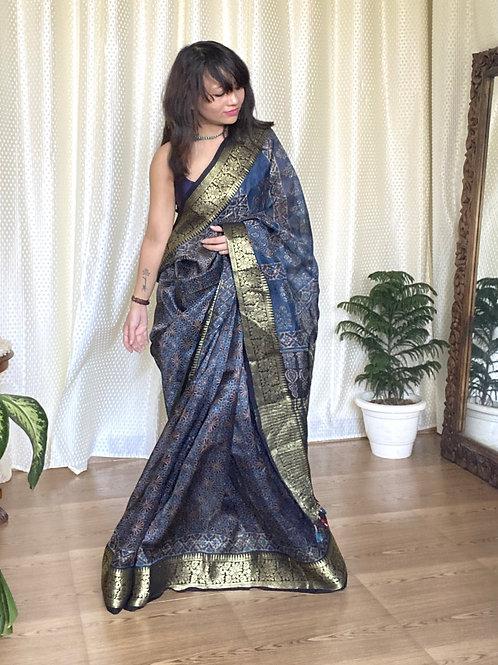 Natural dye ajrakh saree with zari border