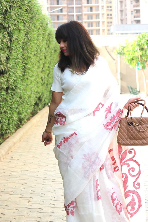 PURE LINEN BY LINEN SAREE WITH EXTRA WEFT JAMDANI TECHNIQUE WOVEN MOTIFS