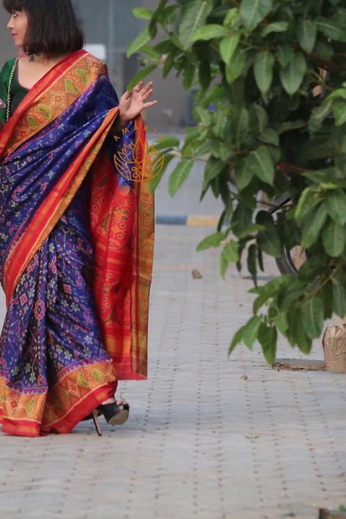 Handwoven single ikkat patola silk saree