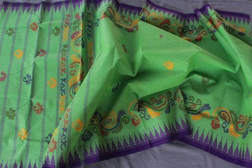 Cotton Moirangpher saree floral border