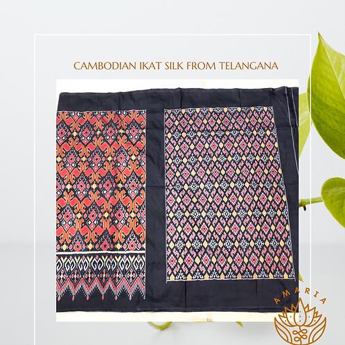 Cambodian ikat silk saree from Telangana (please confirm stock on whatsapp)