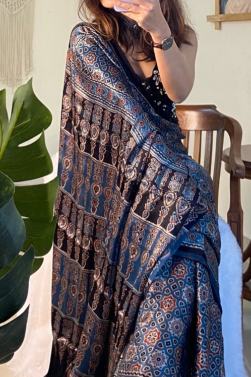 AJRAKH onmodal silk from Gujarat