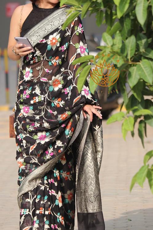 Handloom Meenakari woven Banarasi chiffon saree