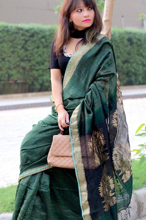 Matka silk with zari stripe and jamdani floral motif on pallu
