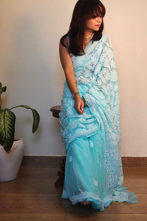 Chikankari georgette saree heavy work