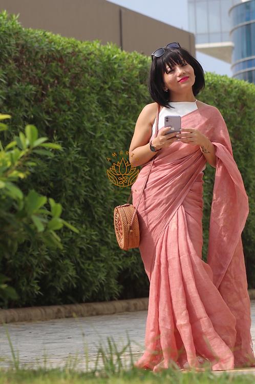 Handloom pure linen saree