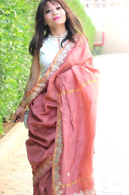 Gota patti handwork saree on chanderi with zari border