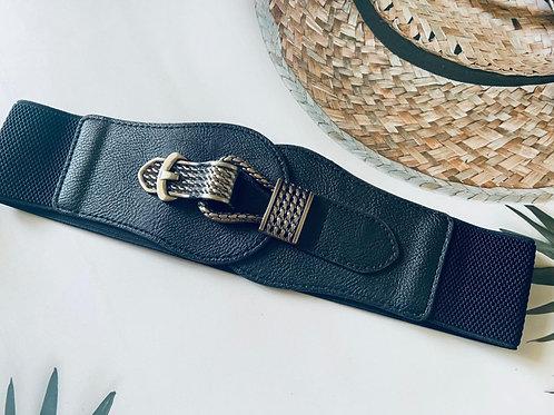 Waist belt with metal buckle