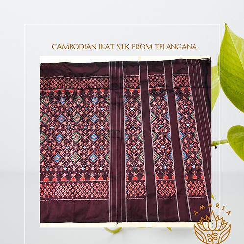 Cambodian ikat silk saree from Telangana ( please confirm stock on whatsapp)