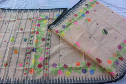 Cotton moiranhphee saree floral border