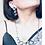 Thumbnail: Oxidised lotus motif with glass beads in pink , set